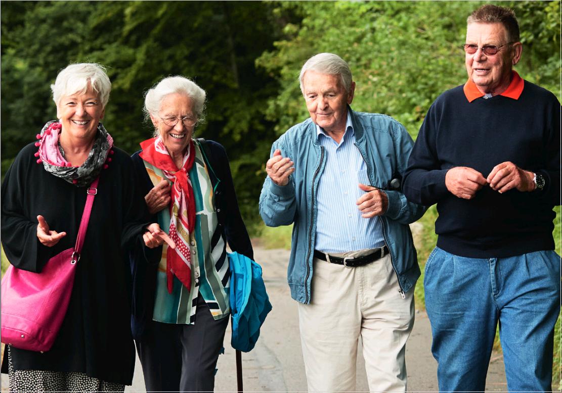 Groupe de seniors marchent ensemble main dans la main